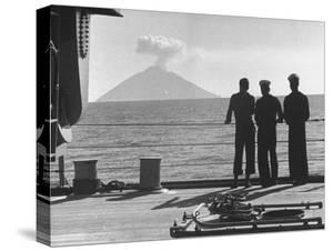 Sailors Watching Smoke Coming Out of the Top of Mt. Stromboli by Tony Linck