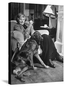 Sean Macbride's Mother, Maud Gonne Macbride, Sitting at Home with Her Dog by Tony Linck