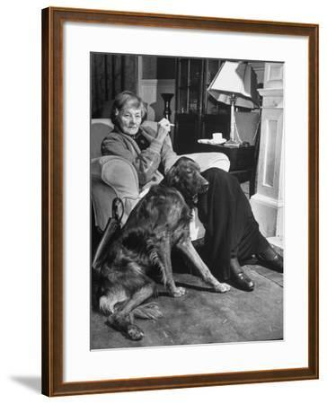 Sean Macbride's Mother, Maud Gonne Macbride, Sitting at Home with Her Dog