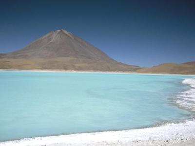 Laguna Verde with Mineral Flat Margin and Volcan Licancabur, 5960M, Southwest Highlands, Bolivia