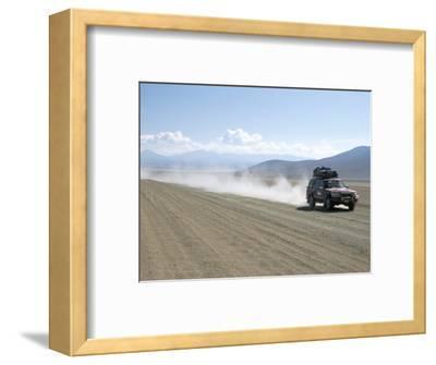 Land Cruiser on Altiplano Track and Tourists Going to Laguna Colorado, Southwest Highlands, Bolivia