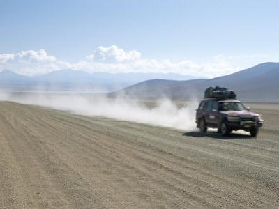Land Cruiser on Altiplano Track and Tourists Going to Laguna Colorado, Southwest Highlands, Bolivia