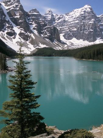 Moraine Lake with Mountains That Overlook Valley of the Ten Peaks, Banff National Park, Canada