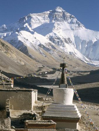 North Side of Mount Everest (Chomolungma), from Rongbuk Monastery, Himalayas, Tibet, China