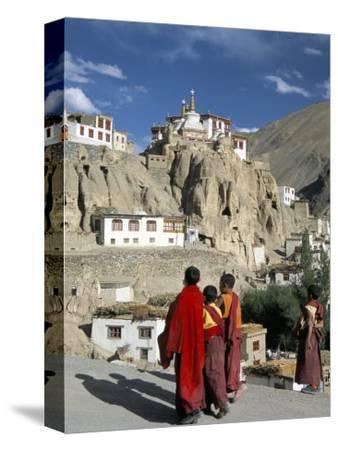 Novice Monks Walk from Village, Lamayuru Monastery, Ladakh, India