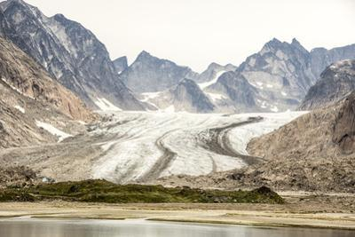 Prins Christian Sund, lateral and medial moraines on Igdlorssuit Glacier, southern Greenland, Polar