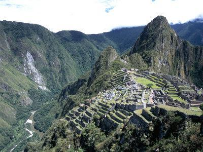 Ruins of Inca Town Site, Seen from South, with Rio Urabamba Below, Unesco World Heritage Site