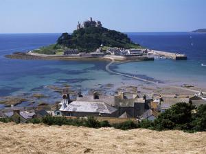 Submerged Causeway at High Tide, Seen Over Rooftops of Marazion, St. Michael's Mount, England by Tony Waltham