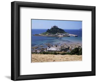 Submerged Causeway at High Tide, Seen Over Rooftops of Marazion, St. Michael's Mount, England