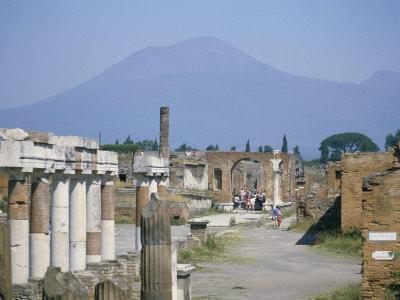 Vesuvius Volcano from Ruins of Forum Buildings in Roman Town, Pompeii, Campania, Italy