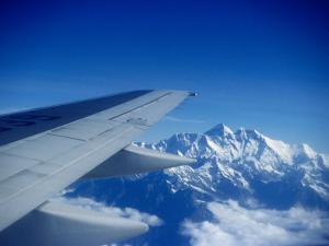 Aeroplane Wing Over Himalayas, Mechi, Nepal by Tony Wheeler