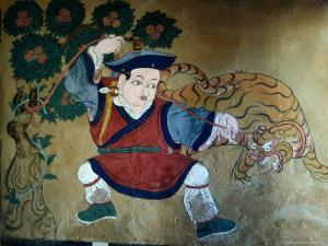 Detail of Wall Painting in Tamzhing Goemba, Choskhor or Bumthang Valley, Jakar, Bumthang, Bhutan by Tony Wheeler