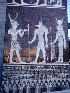 Egyptian Symbols in Pyramid Complex, Dubai, United Arab Emirates by Tony Wheeler