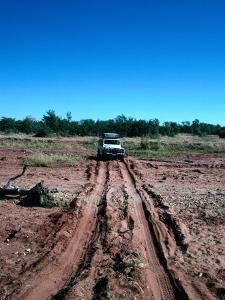 Landrover Driving Over Dry River Bed, Matusadona National Park, Mashonaland West, Zimbabwe by Tony Wheeler