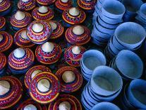 Locally Made Baskets and Ceramic Bowls for Sale in Najran Basket Souq, Najran, Asir, Saudi Arabia-Tony Wheeler-Photographic Print