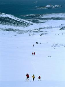 People Trekking Up to Shackleton Gap from Peggotty Camp, South Georgia, Antarctica by Tony Wheeler