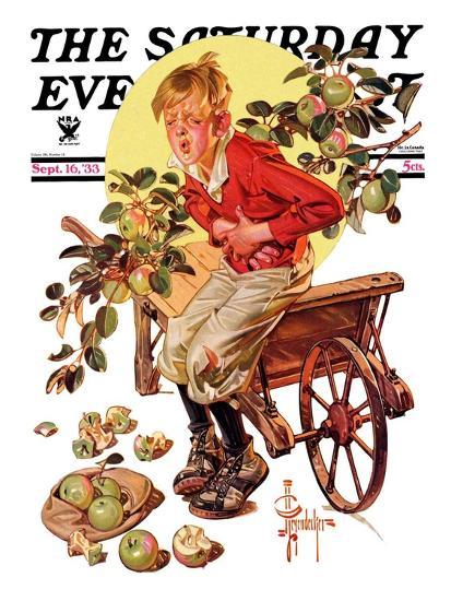"""Too Many Green Apples,"" Saturday Evening Post Cover, September 16, 1933-Joseph Christian Leyendecker-Giclee Print"