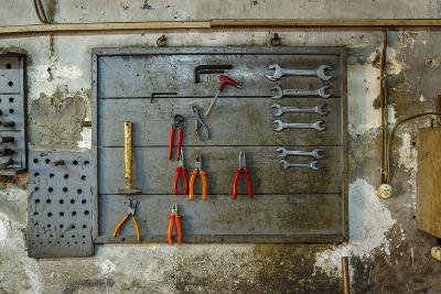 Tools on Wall in Old Repair Shop in Persembe Pazar, Istanbul, Turkey-Ali Kabas-Photographic Print