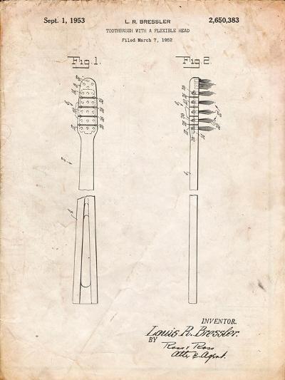 Toothbrush Flexible Head Patent-Cole Borders-Art Print