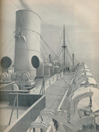 'Top Deck of the Strathmore with modern lifeboats', 1936-Unknown-Photographic Print
