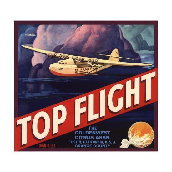 Top Flight Brand - Tustin, California - Citrus Crate Label-Lantern Press-Art Print