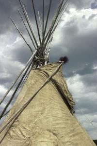 Top of a Tipi Made of Buffalo Hide, Wicoti Living History Lakota Encampment, Black Hills, SD