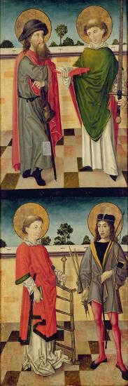 Top: St. Jacob as a Pilgrim and St. Matthew Holding a Book and a Sword- Master of the Luneburg Footwashers-Giclee Print