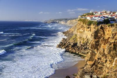 Top View of Ocean Waves Crashing on the High Cliffs of Azenhas Do Mar, Sintra, Portugal, Europe-Roberto Moiola-Photographic Print
