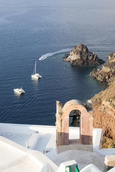 Top View of the Blue Aegean Sea from the Typical Village of Oia, Santorini, Cyclades-Roberto Moiola-Photographic Print