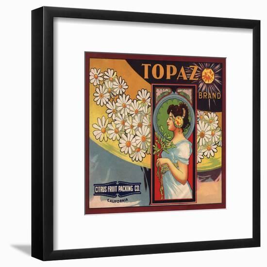 Topaz Brand - California - Citrus Crate Label-Lantern Press-Framed Art Print
