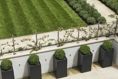 Topiary Balls in Powder-Coated Steel Containers Along the Retaining Wall-Pedro Silmon-Photo