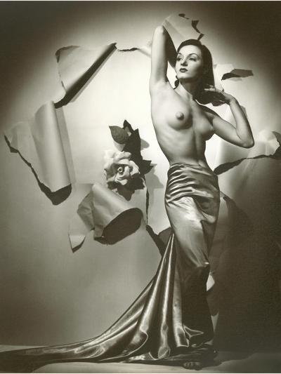 Topless Woman in Satin Skirt--Art Print