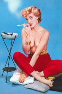Topless Woman with Cigarette Holder
