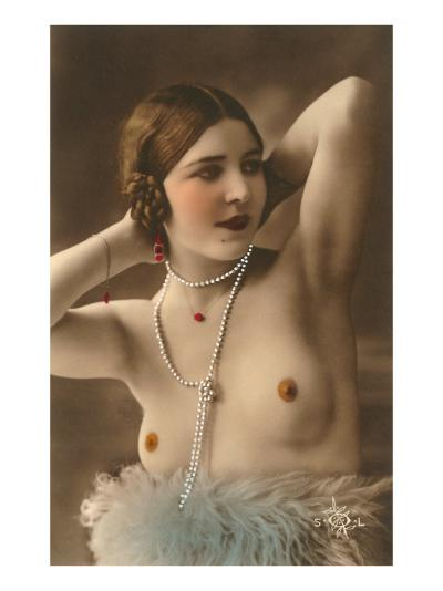 Topless Woman with Feather Boa--Art Print
