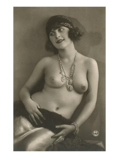 Topless Woman with Necklace--Art Print