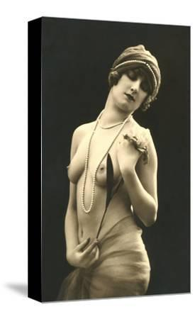 Topless Woman with Pearls
