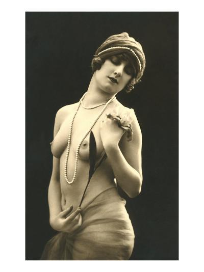 Topless Woman with Pearls--Art Print