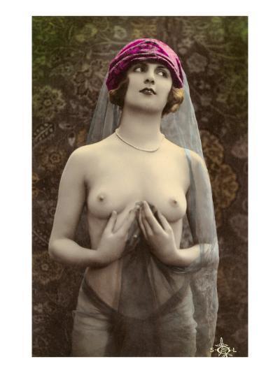 Topless Woman with Veil--Art Print