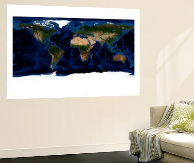 Topographic & Bathymetric Shading of Full Earth--Wall Mural