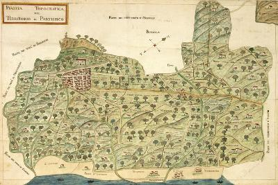 Topographic Map of Area of Partinico, Palermo Province, Sicily Region--Giclee Print