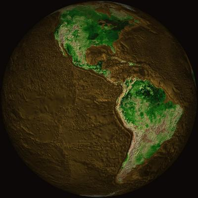 Topographic Map of Earth-Stocktrek Images-Photographic Print