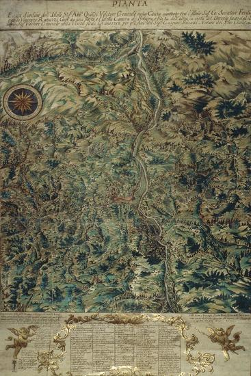 Topographic Map of Porretta County, Ranuzzi Fiefdom on Paper, 1720--Giclee Print