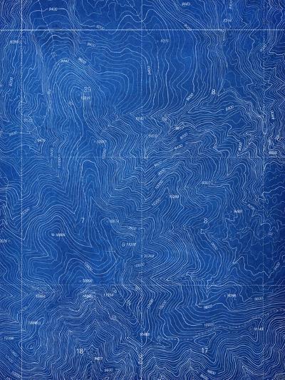 Topographical Blueprint Pattern-yobro-Art Print