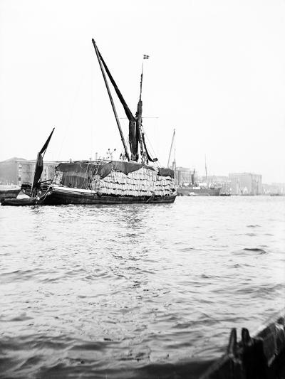 Topsail Barge on the Thames with its Top Mast Lowered, London, C1905--Photographic Print