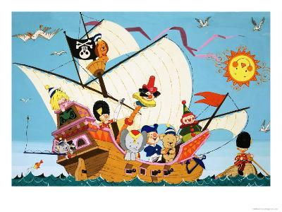 Topsy Turvy Pirate Ship--Giclee Print