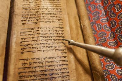 Torah Scroll in the Akhaltsikhe Synagogue of the Georgian Jews-Richard Nowitz-Photographic Print