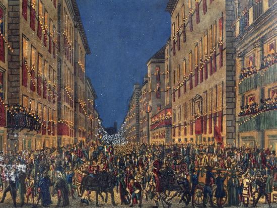 Torchlight Procession in Via Del Corso in Rome, Full Colour Print, Italy, 18th Century--Giclee Print