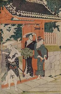 'A Sudden Shower at the Mimeguri Inari Shrine', 1787 by Torii Kiyonaga