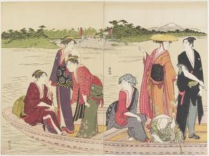 Ferryboat on the Rokugo River, 1784 by Torii Kiyonaga