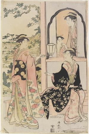 Four Women in Mitate as Ushiwaka Serenading Jo-Ruri-Hime, 1785